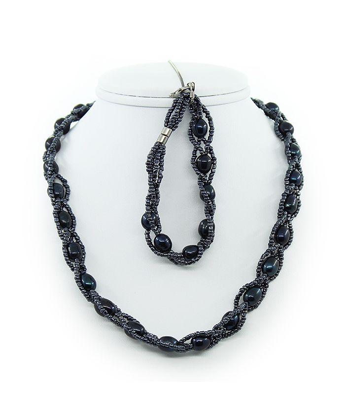 Бусы из черного жемчуга с бисером + браслет овальные, короткие 43см