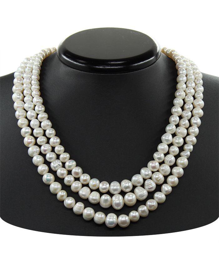 Ожерелье из жемчуга, круглый неровный 6-8мм, 3х, длина 45см