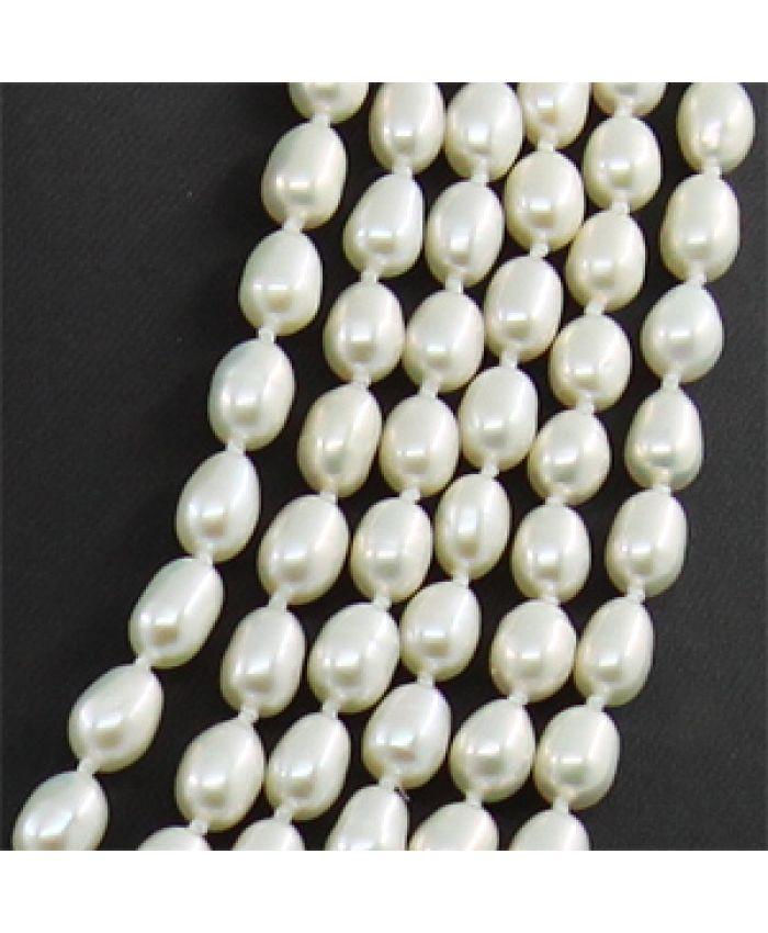 Колье белый жемчуг, ровные овальные 5х7мм, 6 ниток, длина 45см