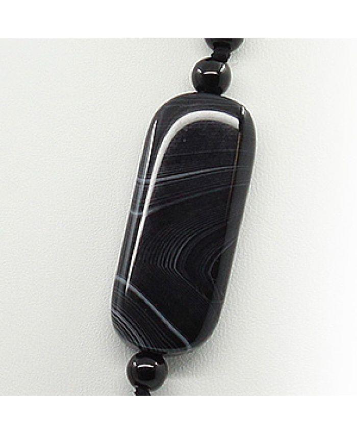 Бусы из агата черный полосатый, плоские прямоугольные 16х39мм длина 48см