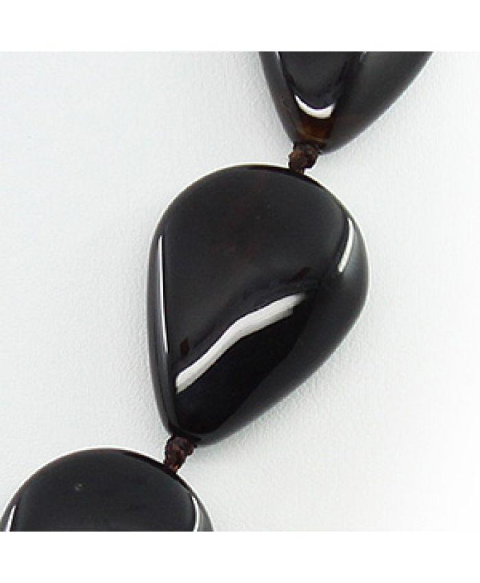 Бусы из черного агата, плоские капли 22х30мм, длина 45см