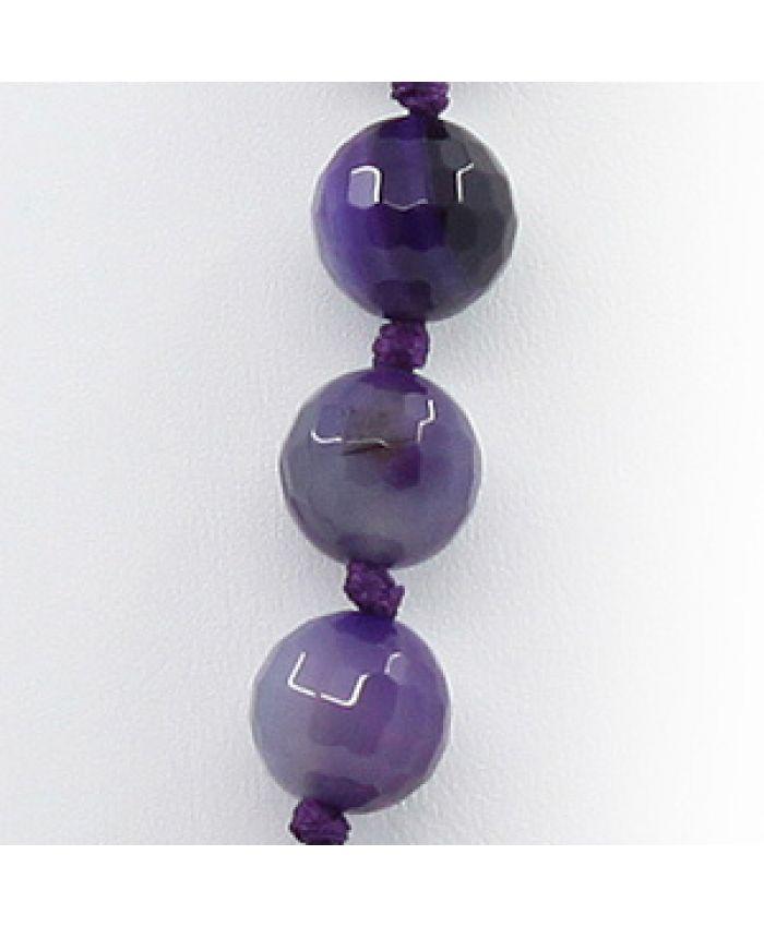 """Бусы из агата фиолетовый """"Стихия"""", плоские витые овальные 22х42мм, длинные 90см"""