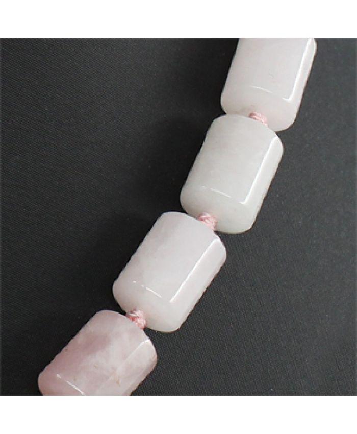 Бочонки из кварца розового 10х14мм, длина 45см