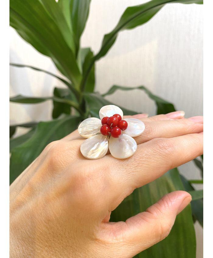 """Кольцо с перламутром """"Цветок"""", круглый"""