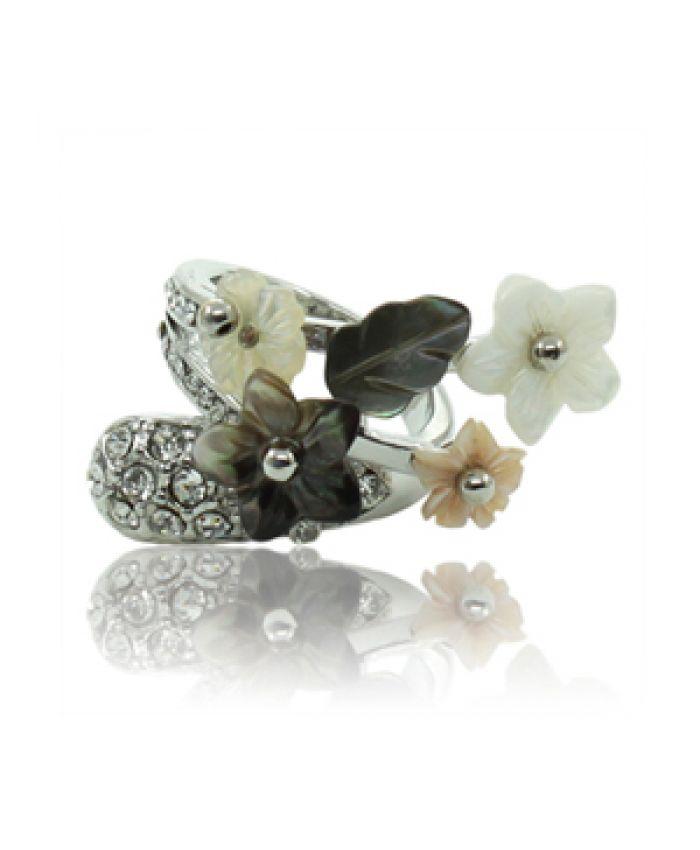 """Кольцо с перламутром """"Весна"""" черный цветок"""