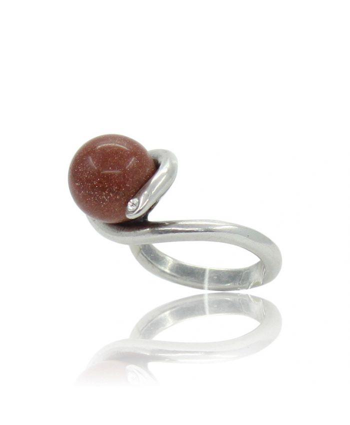 """Кольцо с авантюрином """"Юпитер"""" коричневый 20"""