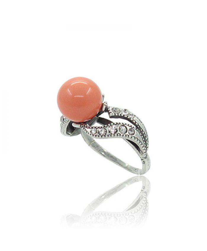 """Кольцо с кораллом """"Идиллия"""" оранжевый (имитация) 19"""