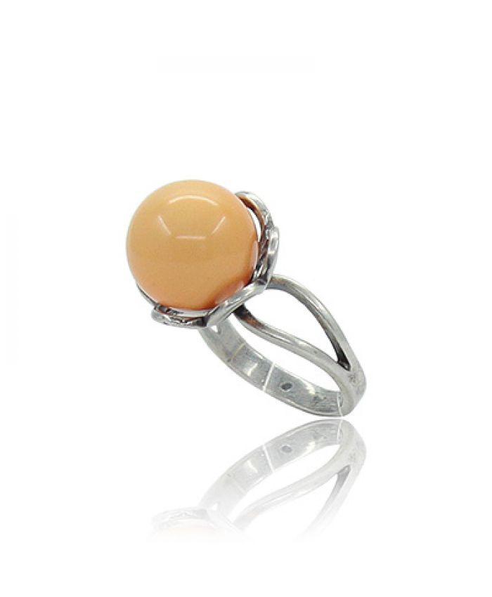 """Кольцо с кораллом """"Ивона"""" оранжевый (имитация) 18"""