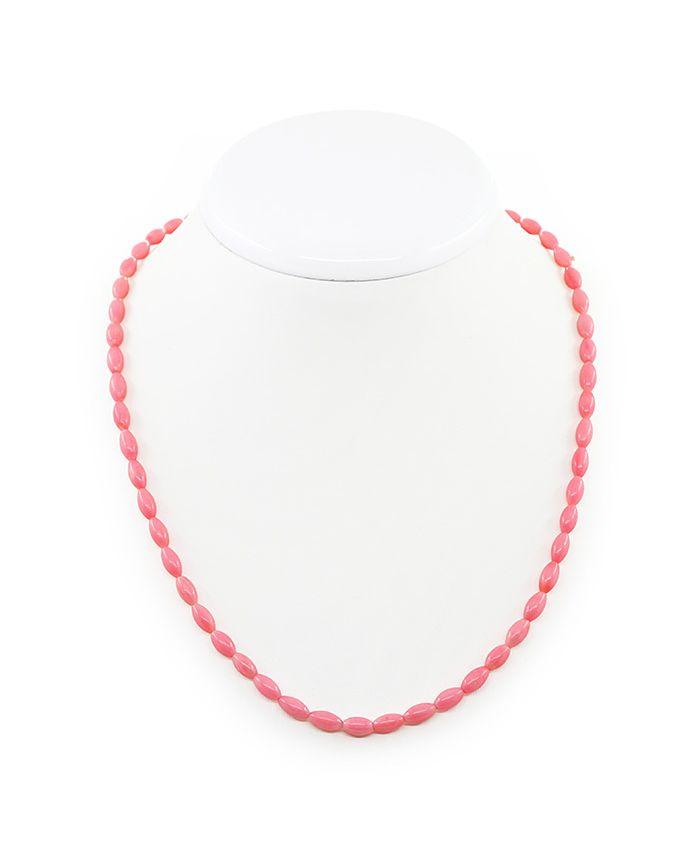 """Бусы из коралла розовый натуральный """"Астра"""", зерно 5х9мм, короткие 46см"""