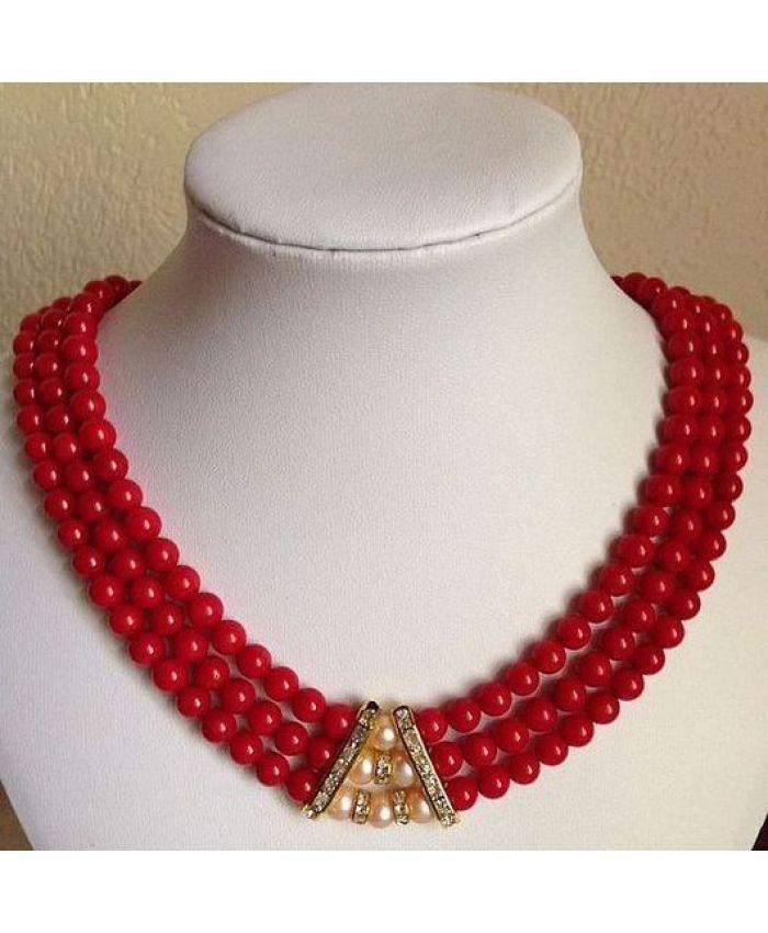 Ожерелье из коралла  6мм, короткие 45см