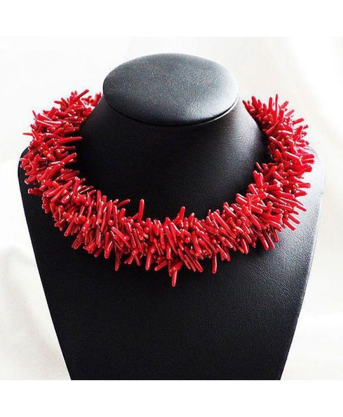 Пышное ожерелье из красного коралла, длина 45см