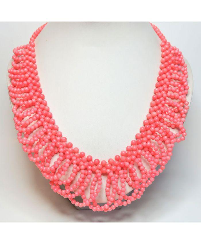 """Колье из розового коралла """"Гермиона"""" длина 50 см"""