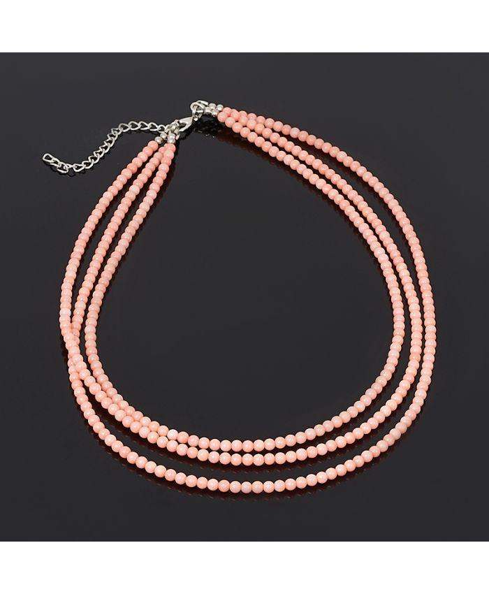 Колье из коралла розовый 3 мм, длина 44 см