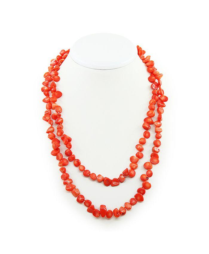 Длинные коралловые бусы оранжевый натуральный, галька, длинные 116см
