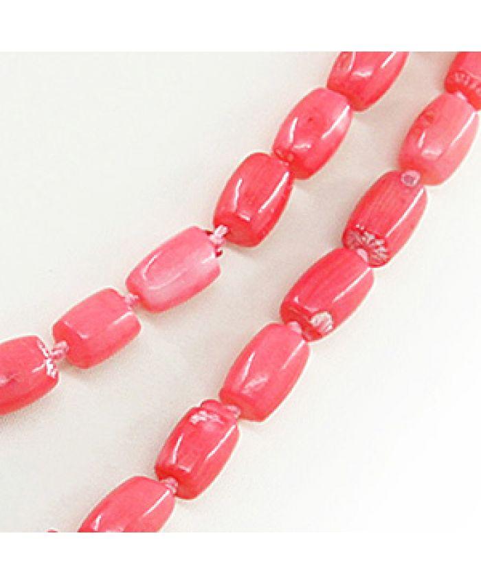 """Коралловые бусы розовый """"Испания"""", бочонки, длинные 116см"""