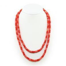 """Длинные коралловые бусы натуральный оранжевый """"Индира"""", косточки и бочонки, длина 118см"""