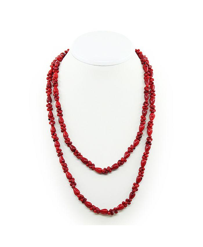 """Бусы из коралла натуральный красный """"Индира"""", косточки и капли, длинные 114см"""