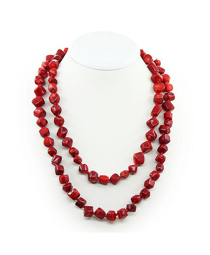 Коралловые бусы красный натуральный, галтовка, длинные 118см