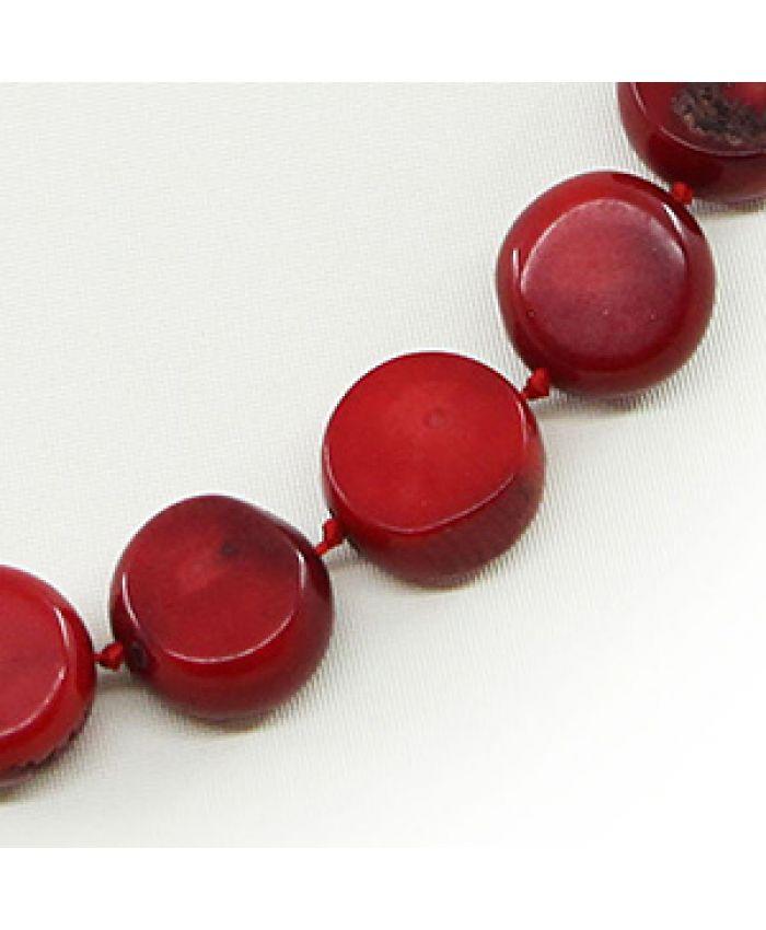 Коралловые бусы красный натуральный, таблетки 11мм, длина 45см