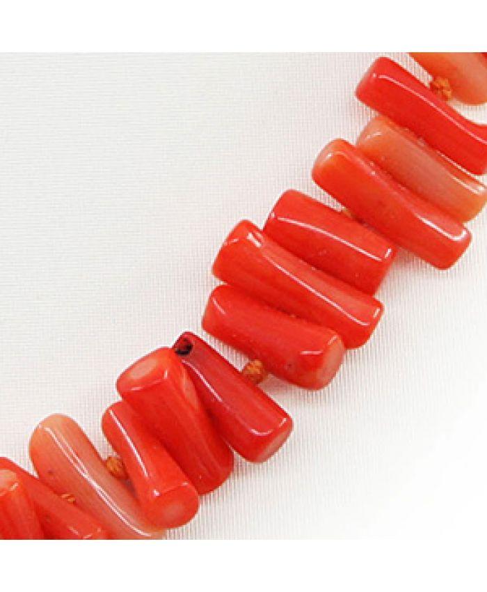 Коралловые бусы оранжевый натуральный, палочки горизонтальные длина 45см