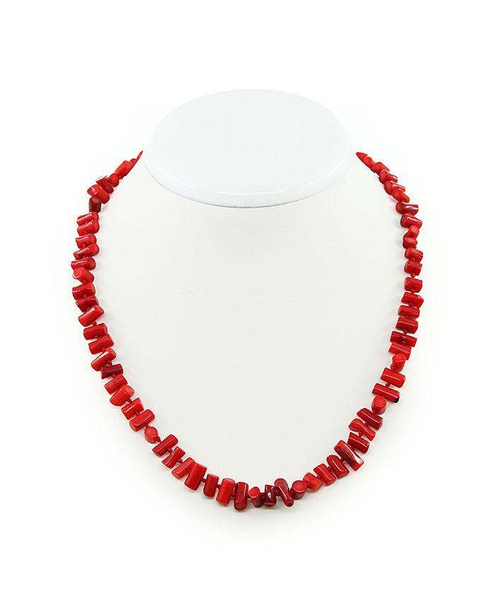 Коралловые бусы красный натуральный, палочки горизонтальные 6х7мм, длина 45см