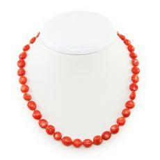 Коралловые бусы оранжевый натуральный, галтовка маленькая, короткие 45см