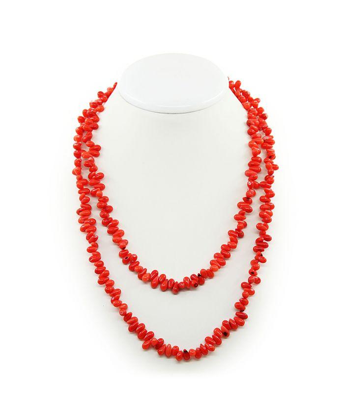 Длинные коралловые бусы оранжевый натуральный, капли горизонтальные, длинные 120см