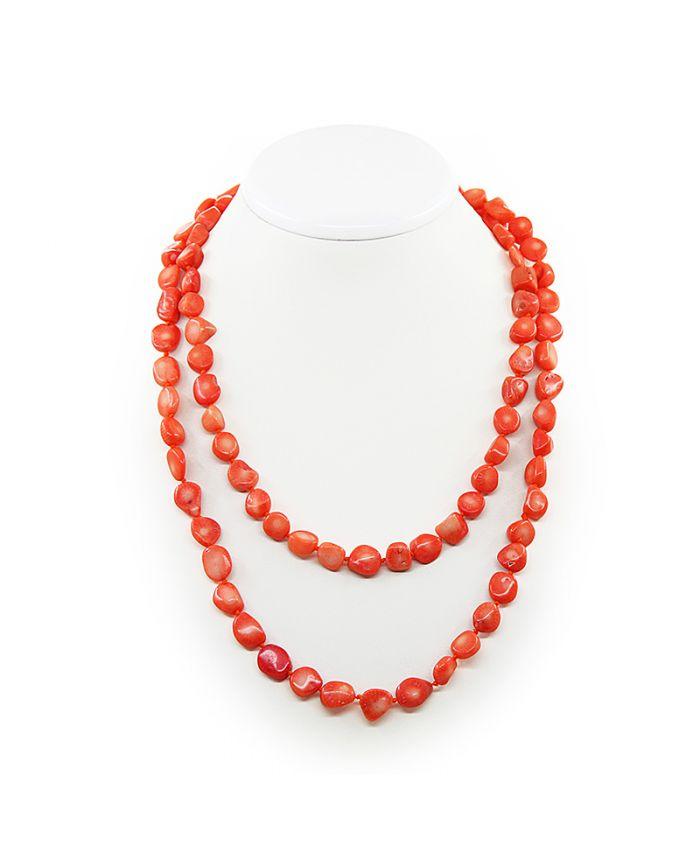Коралловые бусы оранжевый натуральный, галтовка маленькая 10х11мм, длинные 114см