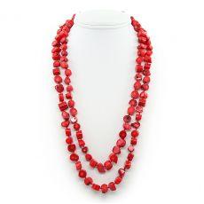 Коралловые бусы красный натуральный, плашки, длинные 120см