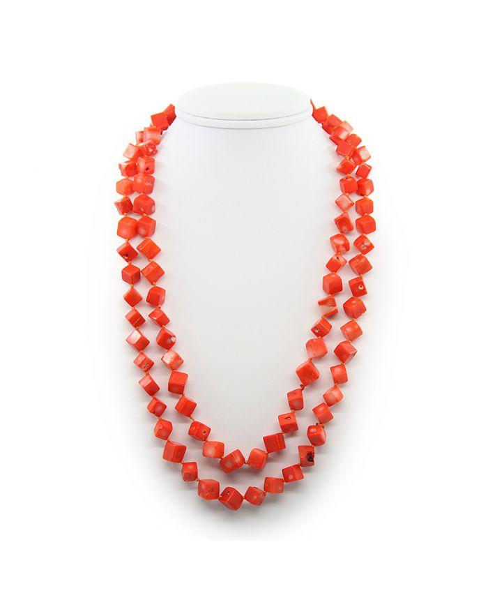 Коралловые бусы оранжевый натуральный кубики Длинные 116см