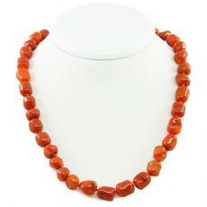 """Коралловые бусы оранжевый, галтовка крупная """"галтовка"""", короткие 45см"""