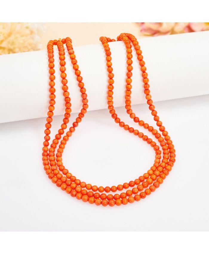 Бусы коралл оранжевый Индонезия 4 мм 48 см