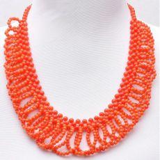 Колье из оранжевого коралла длина 54 см