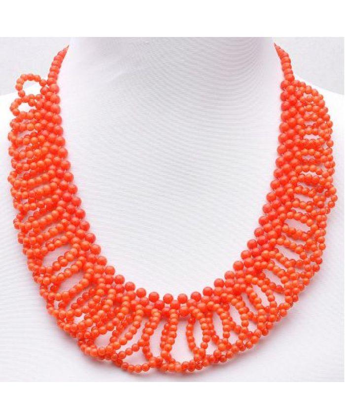 """Колье из оранжевого коралла """"Гермиона"""" длина 50 см"""