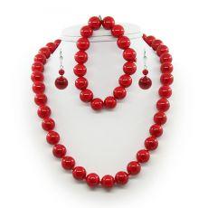 """Комплект из красного прессованного коралла бусы, серьги, браслет """"Классика"""""""