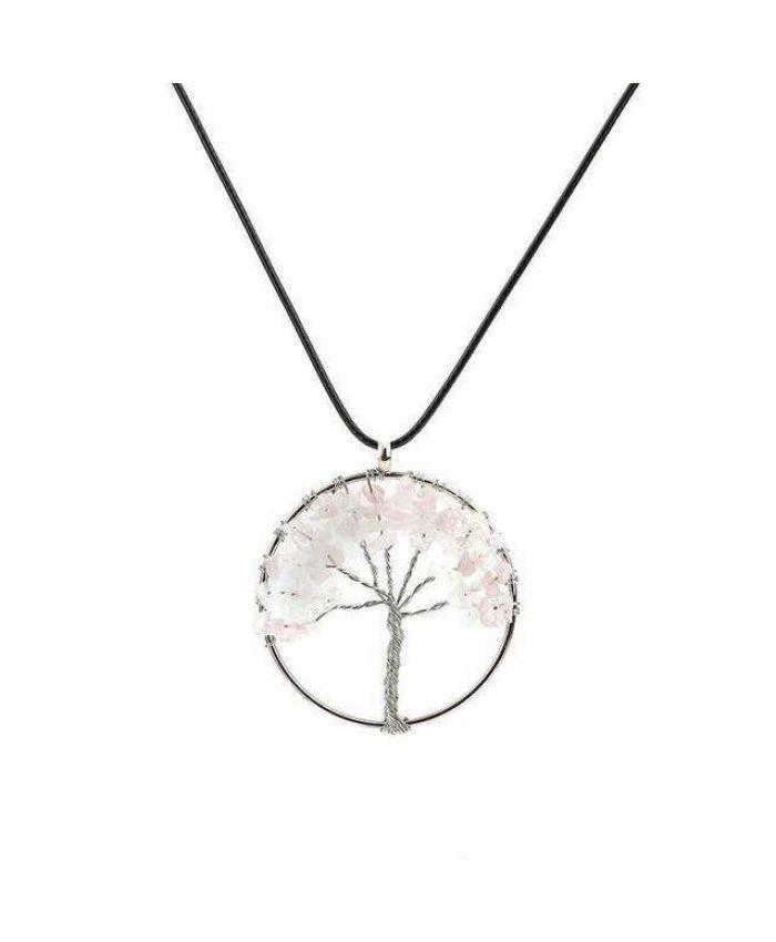 Кулон из розового кварца Дерево