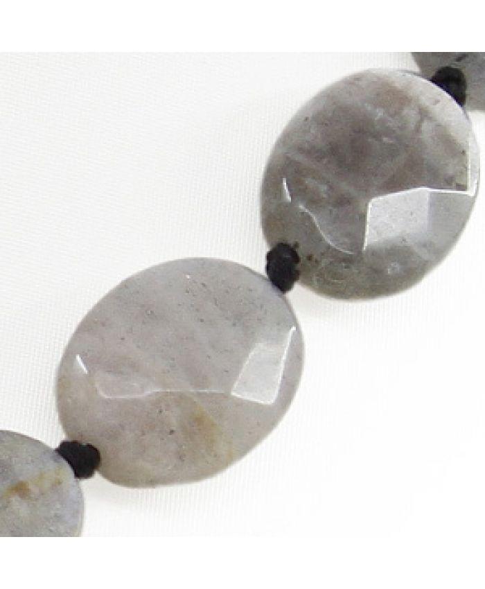 """Бусы из натуральных камней из лабрадора """"Притяжение"""", граненые овальные 12х16мм, длина 48см"""
