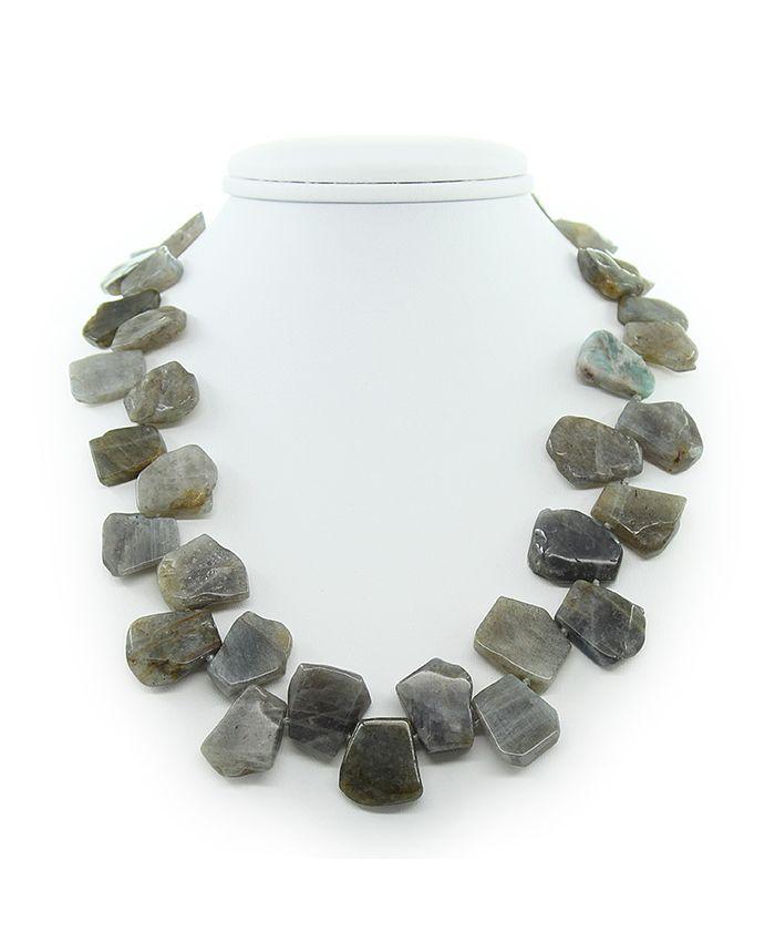 "Бусы из лабрадора галька камень крупная ""Лаванда"", плоские 20х25мм, длина 50см"
