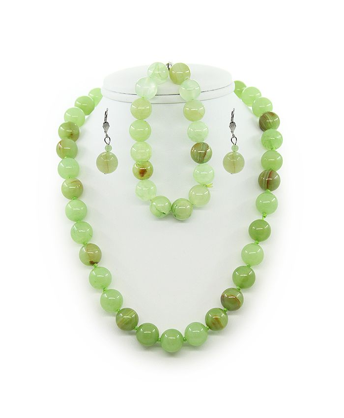 """Набор """"Классика"""" оникс зеленый круглый бусы+браслет+серьги"""