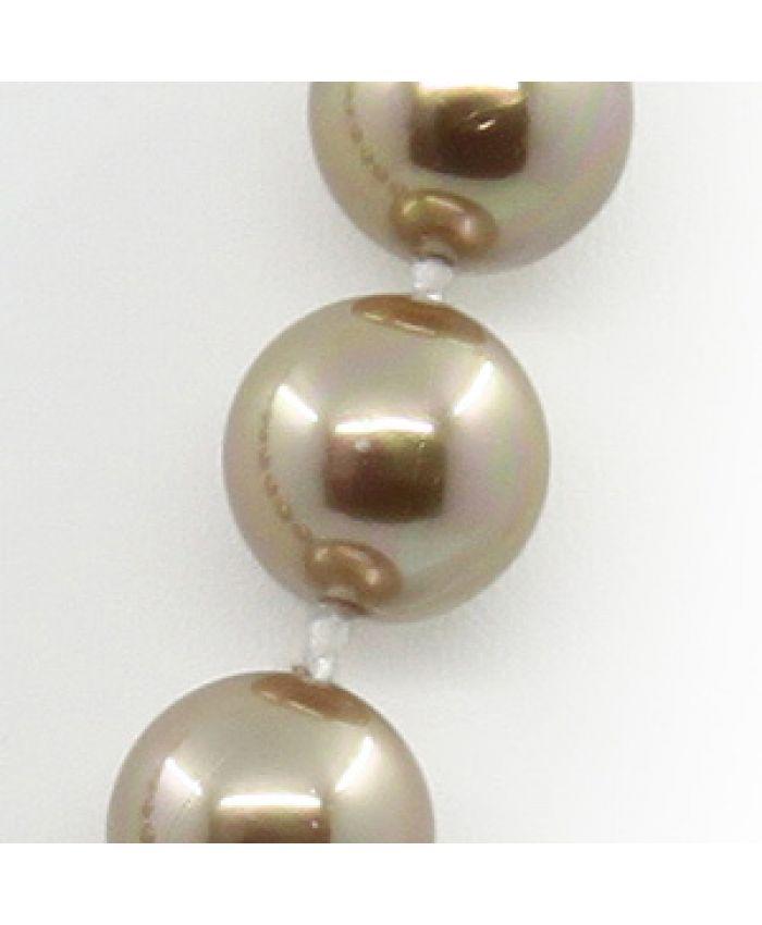 Бусы жемчуг майорка золотая, разноразмерные 8...16мм, короткие 49см