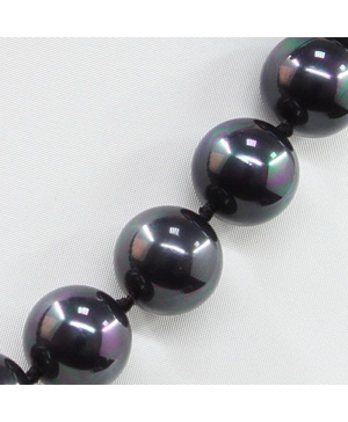 Комплект Бусы и браслет майорка черная, круглые 14мм, длина 45см