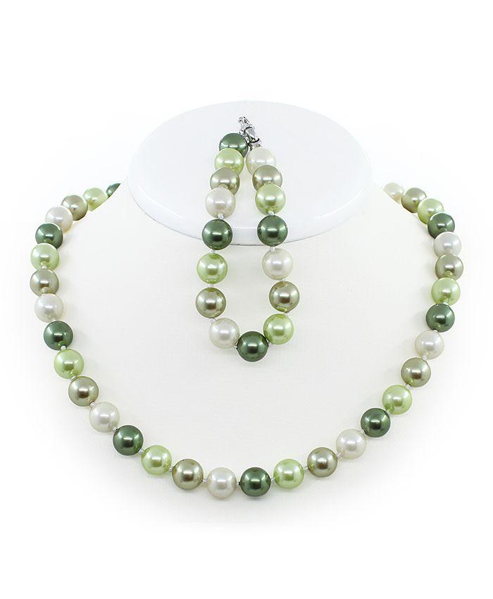 Комплект бусы и браслет майорка mix зеленый, круглая 10мм, длина 45см