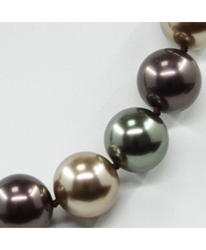 Комплект Бусы и браслет майорка mix зеленый коричневый, круглые 14мм, короткие 47см