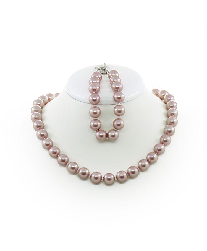 Комплект Бусы и браслет майорка темно-розовая, круглые 12мм, короткие 46см