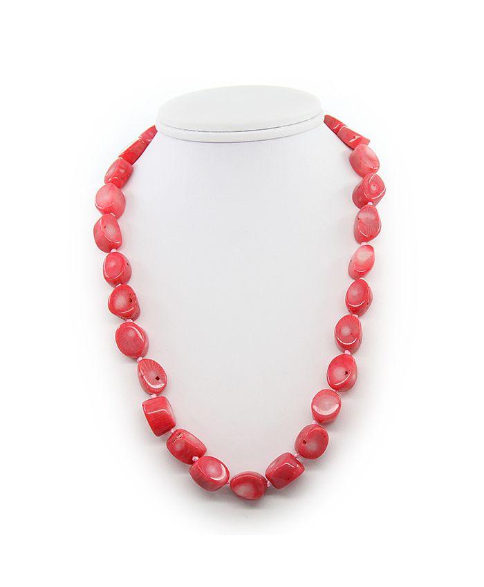 Коралловые бусы розовый натуральный, галька 12х16мм, короткие 52см