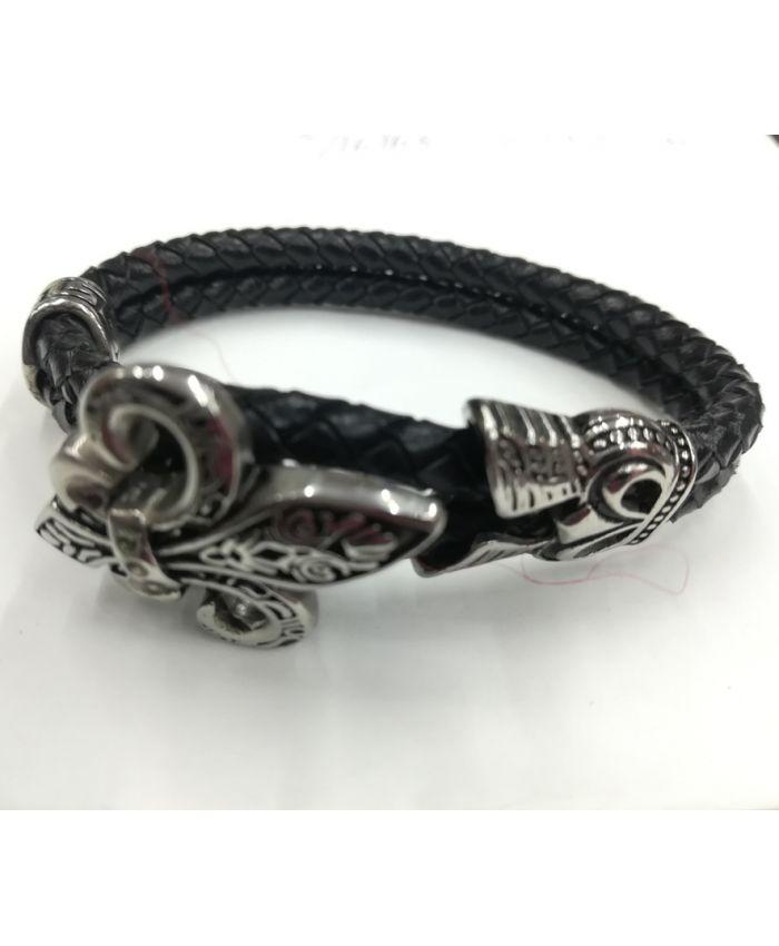 Мужские браслеты из кожи якорь черный