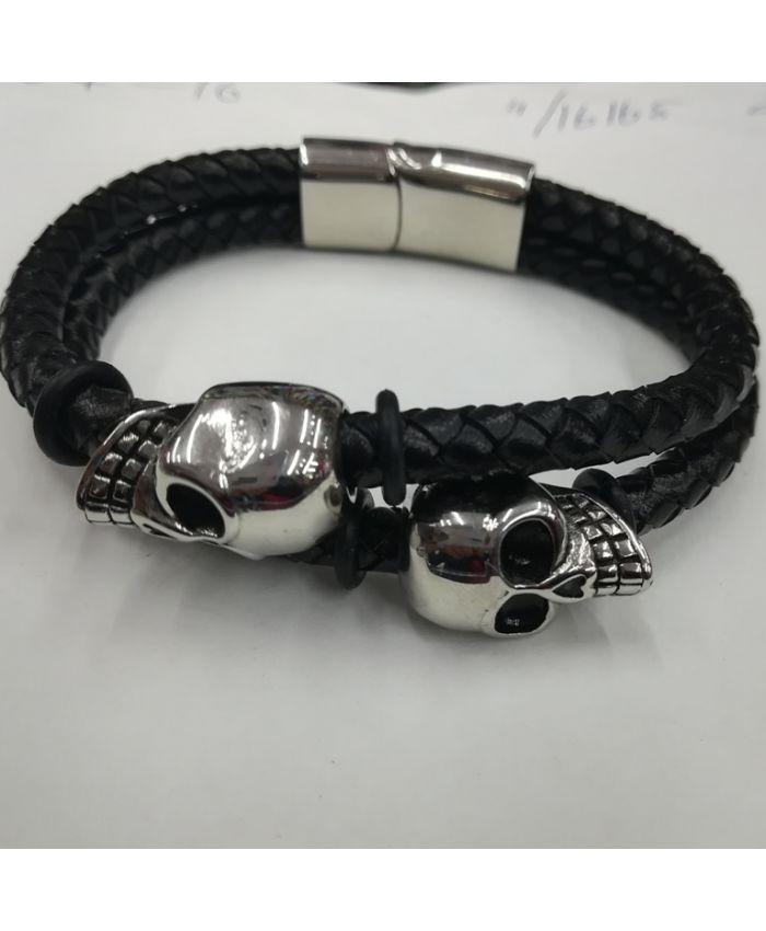 Мужские браслеты из кожи с черепами черный