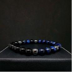 Мужской браслет Синий тигровый глаз, Черный агат и Гематит
