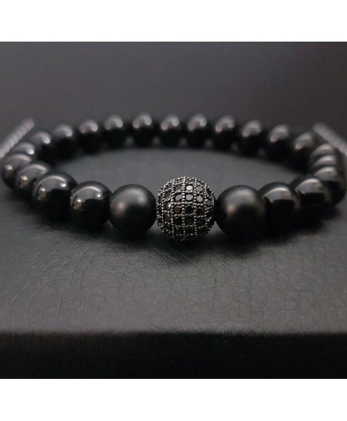 Мужской браслет из черного Агата и вставка с черными Цирконами