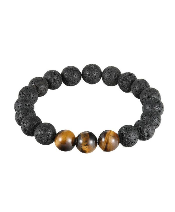 Мужской браслет из тигрового глаза, шунгита и вулканической лавы камни круглые 12мм